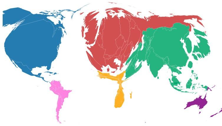 Части света в зависимости от объёмов эмиссии CO2 за всю историю