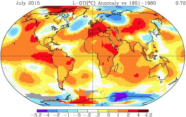 Июль 2015 года стал самым тёплым за всю историю наблюдений