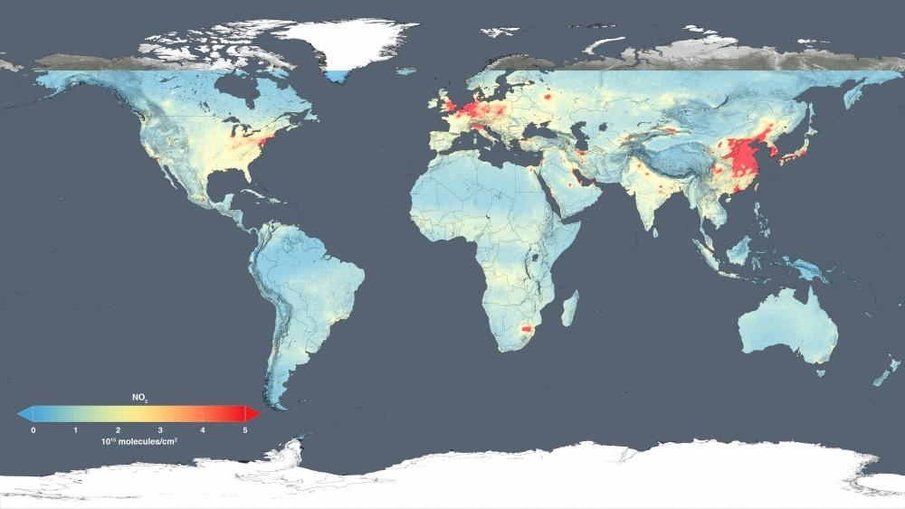 NASA представила спутниковые снимки загрязнения воздушной среды