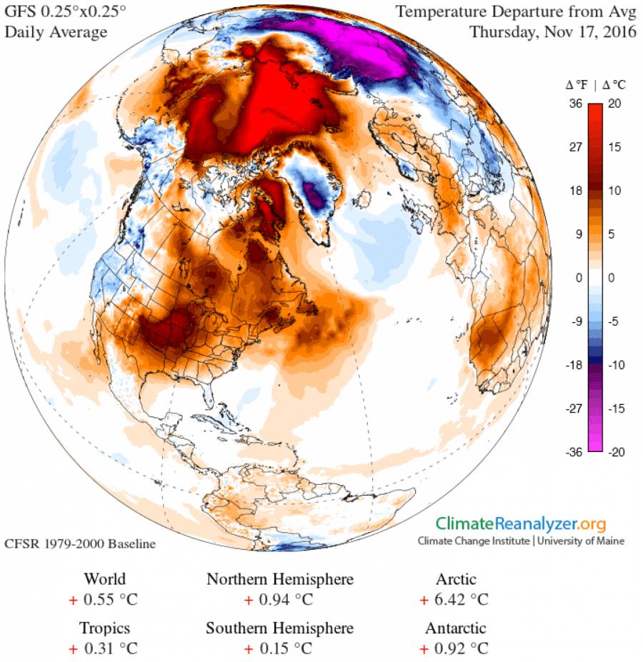 Температура в Арктике на 20°C превысила норму