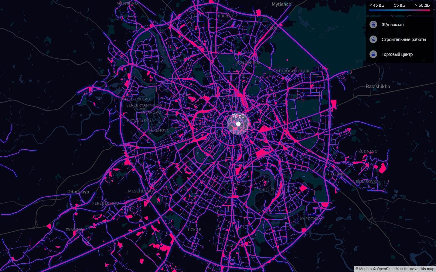 Карта шумового загрязнения Москвы