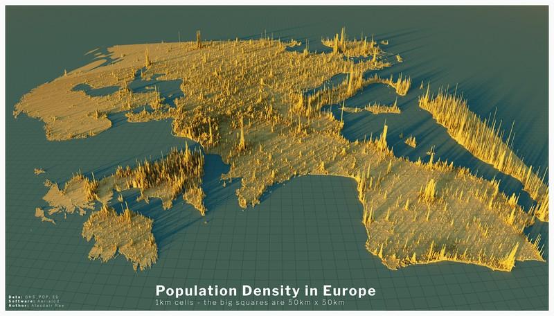 Плотность населения Земли в 3D
