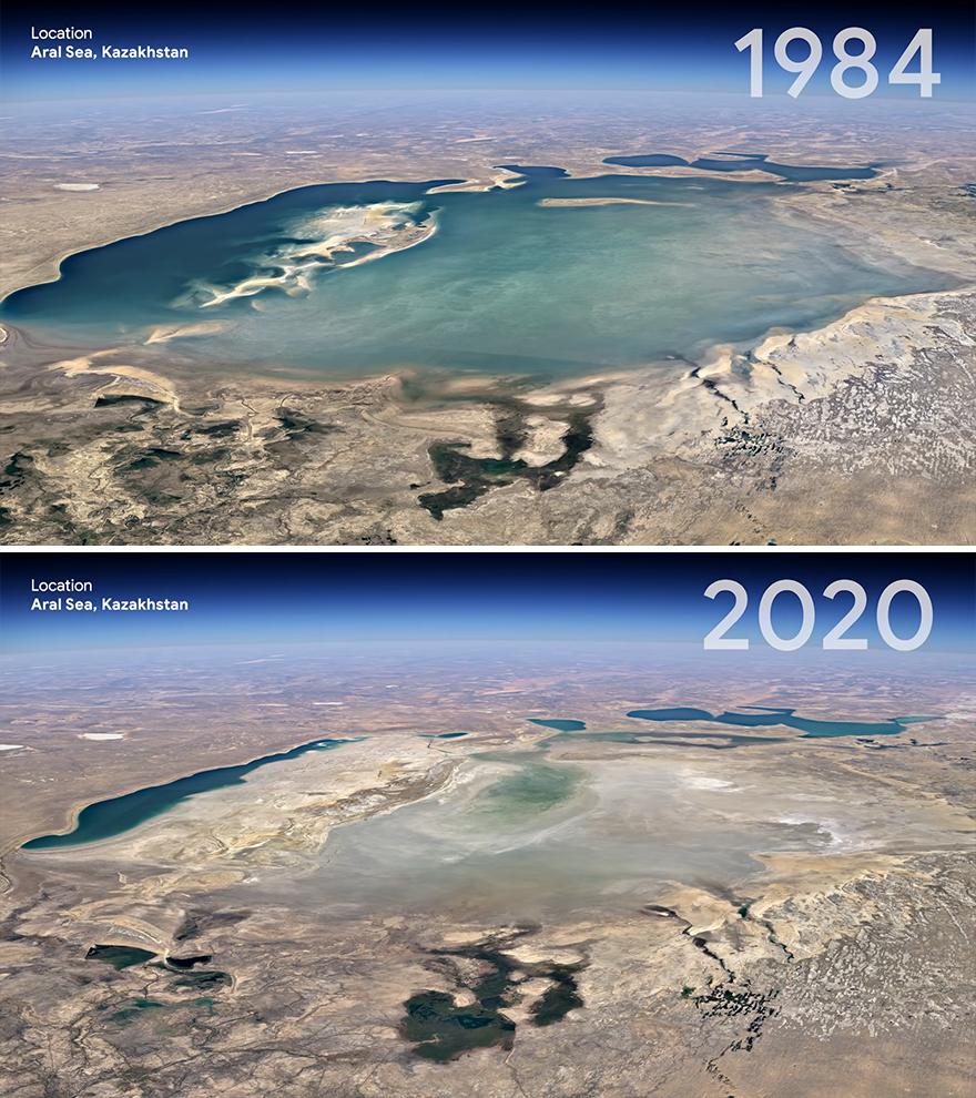 Как изменилось Аральское море за 30 лет.